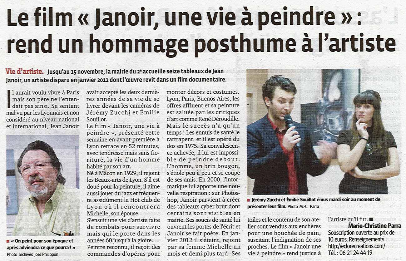 Article publié dans Le Progrès (Lyon), le 11 novembre 2013.