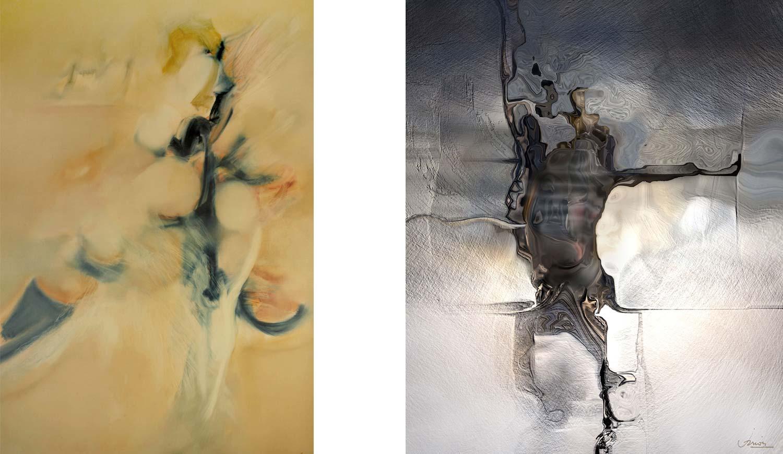 Peinture à l'huile de 1984 (gauche) et peinture numérique de 2009 (droite), par Jean Janoir.