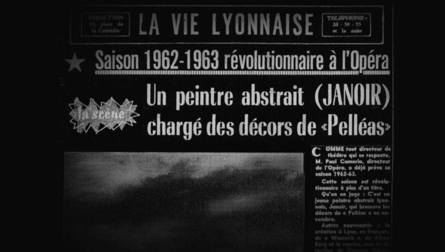 Article de journal sur les décors de l'opéra Pélléas et Mélisande par Jean Janoir.