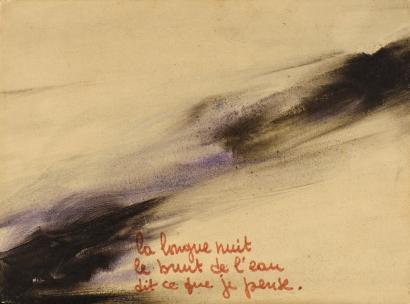 """""""La longue nuit le bruit de l'eau dit ce que je pense, CHOSE adorable à voir par un trou de la fenêtre de papier, LE FLEUVE DU CIEL, je monte.... sur son sommet.... Un papillon est posé"""" Janoir, 1964"""