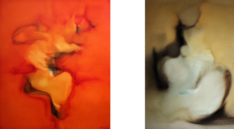 Peintures à l'huile de Jean Janoir des années soixante-dix.