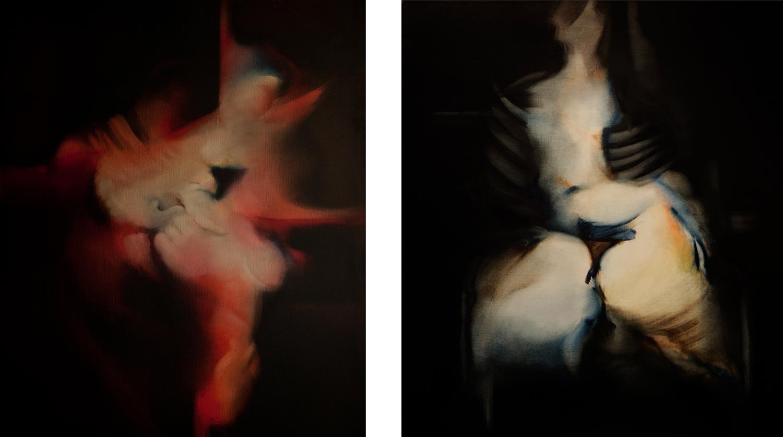 Peintures à l'huile de Jean Janoir des années quatre-vingt-dix. Celle de droite est une de ses dernières toiles, étant datée de 1995.