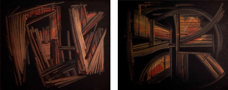 """Peintures de la série des """"bibliothèques"""" de Jean Janoir (vers 1957)."""