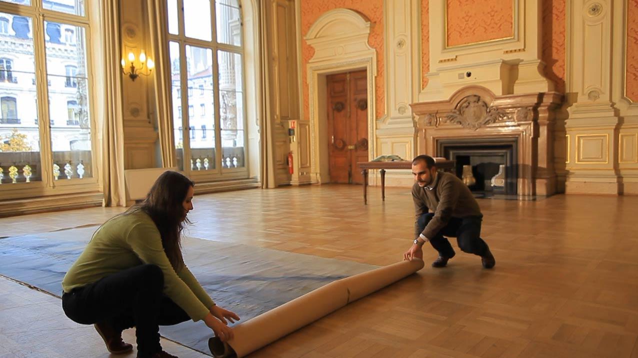Redécouverte d'une immense toile de Jean Janoir commandée en 1963 par la Chambre de Commerce et de l'Industrie de Lyon.