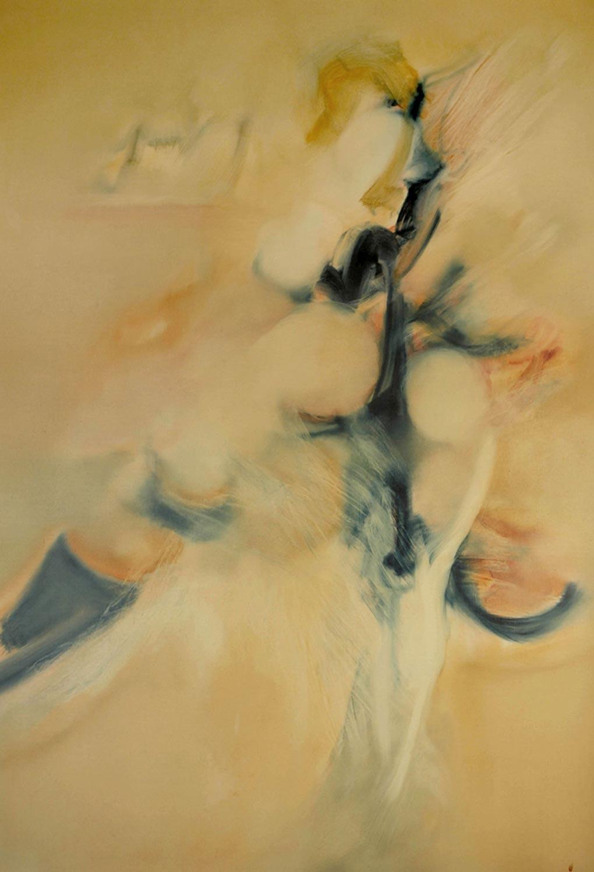 Ouverture aquatique, peinture à l'huile de Jean Janoir, 1984.