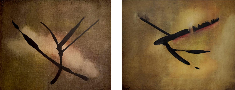 """Peintures de la période des """"signes"""" de Jean Janoir (1959)."""